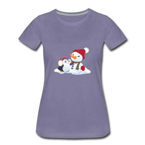 Penguin & Snowman Winter Friends - Women's Premium T-Shirt