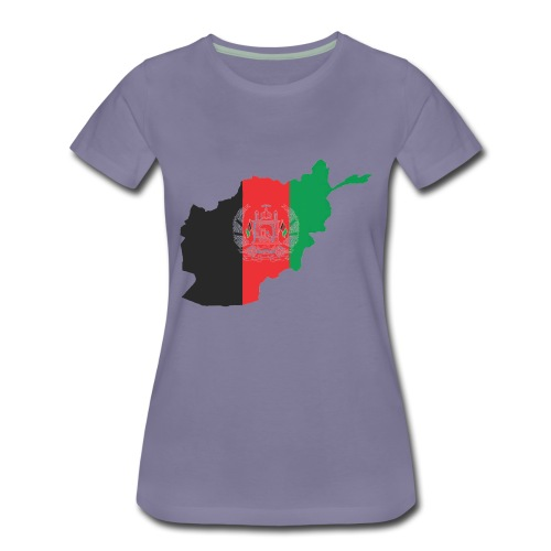Afghanistan Flag in its Map Shape - Women's Premium T-Shirt