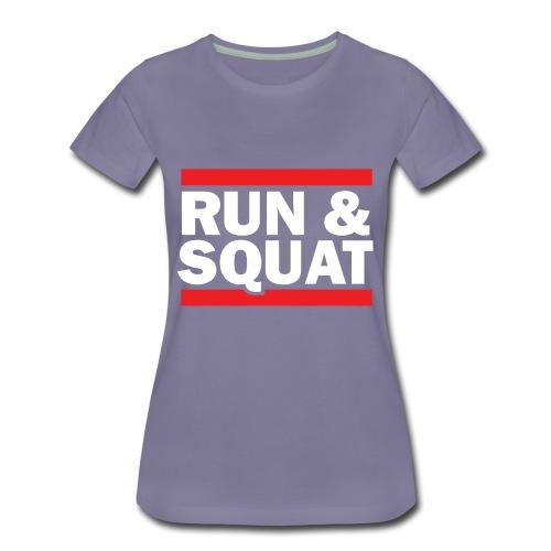 Run Squat White on Dark by Epic Greetings - Women's Premium T-Shirt