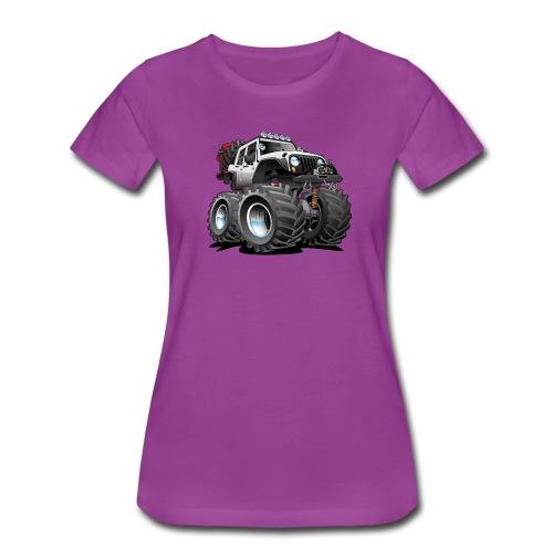 Off road 4x4 white jeeper cartoon - Women's Premium T-Shirt