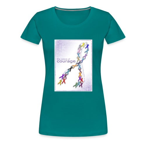 The Colors of Courage Cancer Awareness Ribbons - Women's Premium T-Shirt