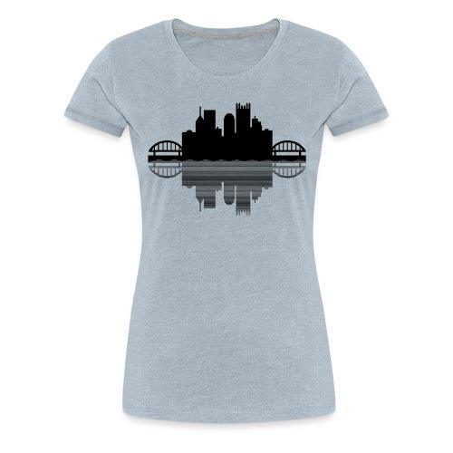 Pittsburgh Skyline Reflection (Black) - Women's Premium T-Shirt