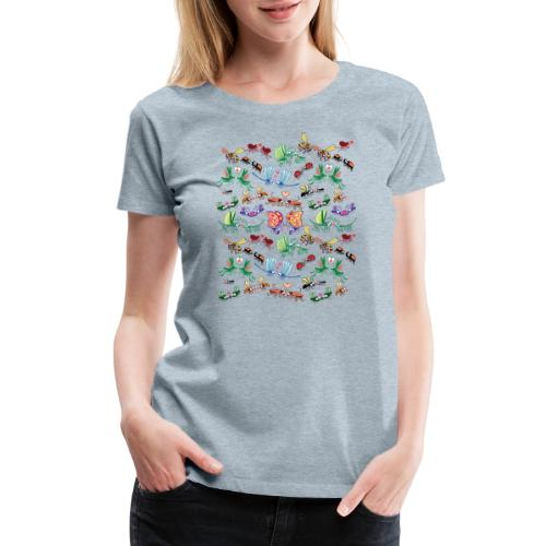 Funny insects falling in love in a pattern design - Women's Premium T-Shirt