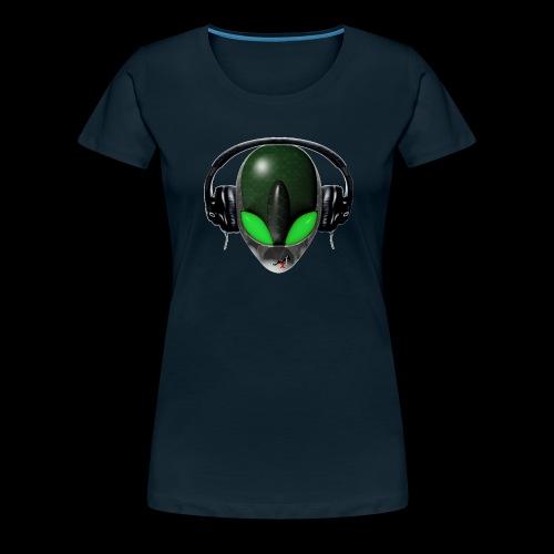 Reptoid Green Alien Face DJ Music Lover - Friendly - Women's Premium T-Shirt