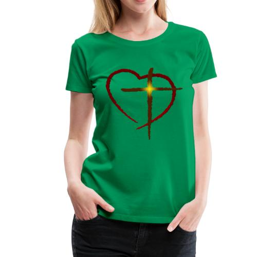 Heart and Cross - Women's Premium T-Shirt