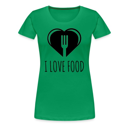 Funny Food Quote I Love To Eat - Heart, Fork Diet - Women's Premium T-Shirt