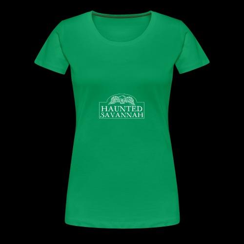 Haunted Savannah Tours Logo (White and Transparent - Women's Premium T-Shirt