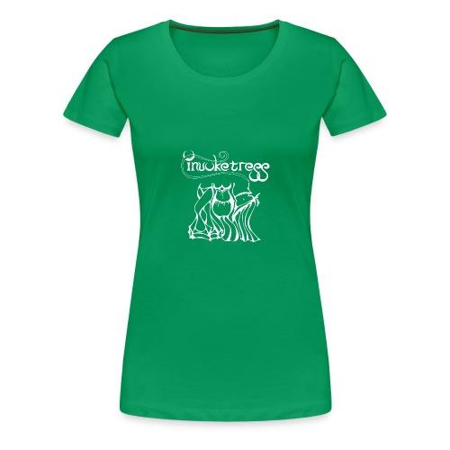 Invoketress Bellies Logo in White - Women's Premium T-Shirt
