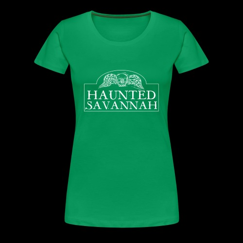 Haunted Savannah Tours Logo (White and Transparent - Women's Premium T-Shirt
