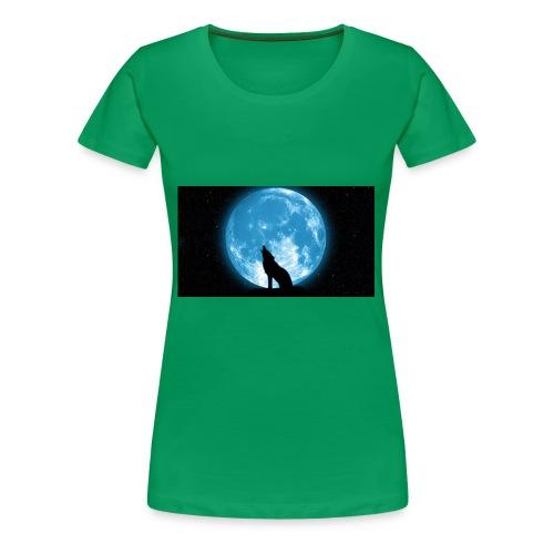 488234 wolf howling at the moon wallpaper 2560x144 - Women's Premium T-Shirt