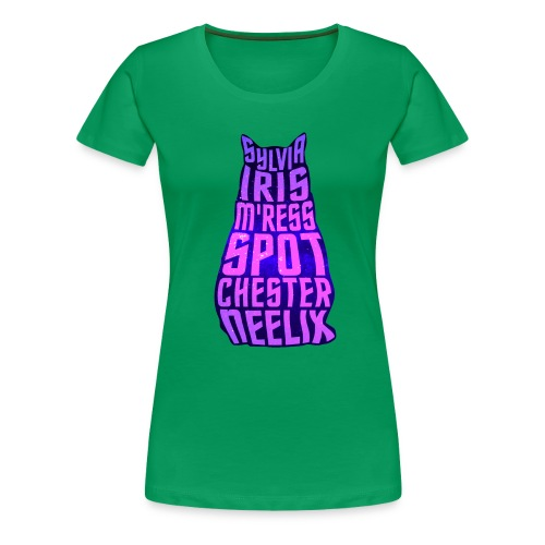 Trek Cats (pink and purple letters) - Women's Premium T-Shirt