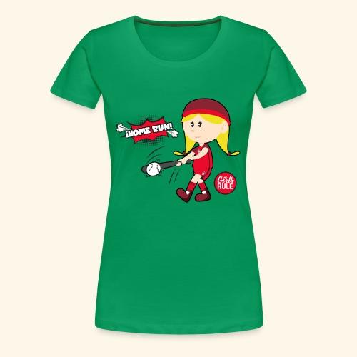 American girl baseball player hitting home run - Women's Premium T-Shirt