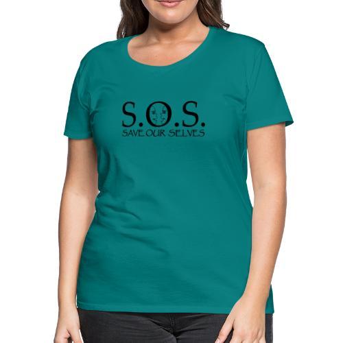 SOS Black on Black - Women's Premium T-Shirt