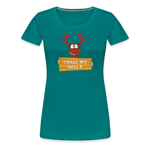 Red Christmas Horny Reindeer 1 - Women's Premium T-Shirt