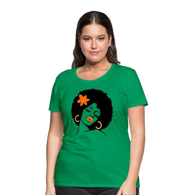 Afro Diva With Orange Flower - Women's Premium T-Shirt | Natural Hair T-Shirt