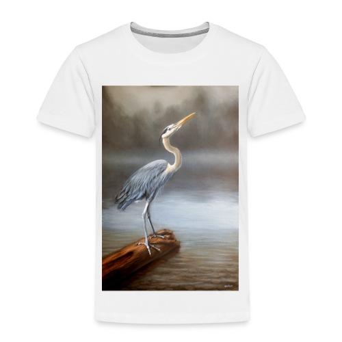Blue Heron Wildlife Painting Print - Toddler Premium T-Shirt