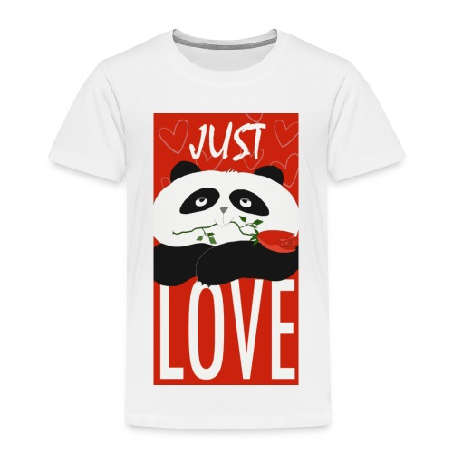 Panda Funny Romantic Cartoon Love Cute Flower - Toddler Premium T-Shirt