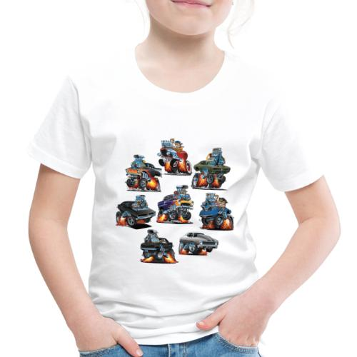 Car Crazy Classic Hot Rod Muscle Car Cartoons - Toddler Premium T-Shirt