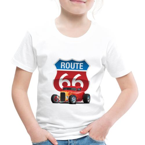 Route 66 Sign with Classic American Red Hotrod - Toddler Premium T-Shirt
