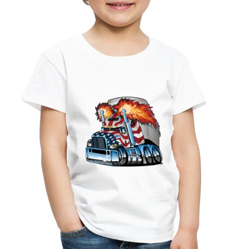 Patriotic American Flag Semi Truck Tractor Trailer - Toddler Premium T-Shirt