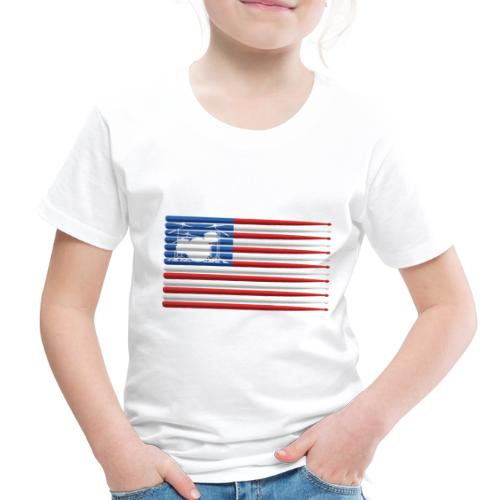 American Drummer Flag with Drum Kit and Sticks - Toddler Premium T-Shirt