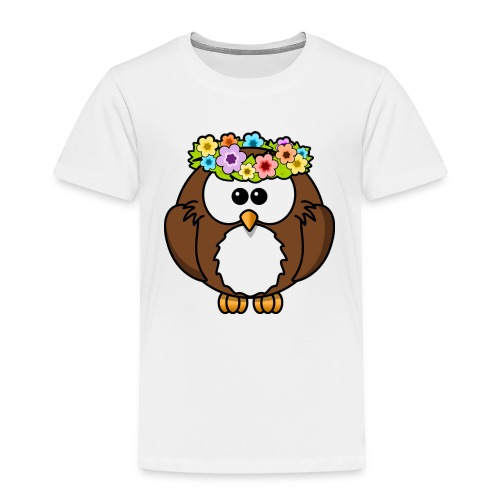 Owl With Flowers On Head T-Shirt - Toddler Premium T-Shirt