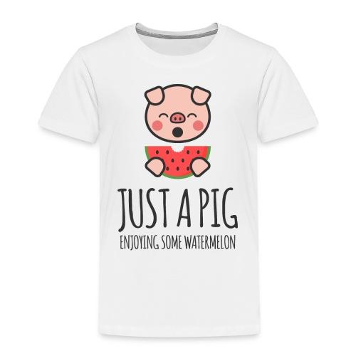 Just A Pig Enjoying Some Watermelon - Toddler Premium T-Shirt