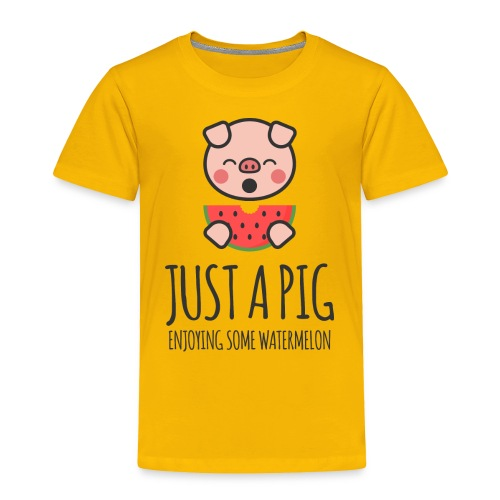 Just A Pig Enjoying Some Watermelon - Toddler Premium T-Shirt