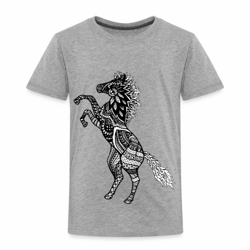 Rearing Horse Zentangle (abstract doodle) - Toddler Premium T-Shirt