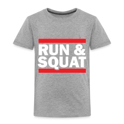 Run Squat White on Dark by Epic Greetings - Toddler Premium T-Shirt
