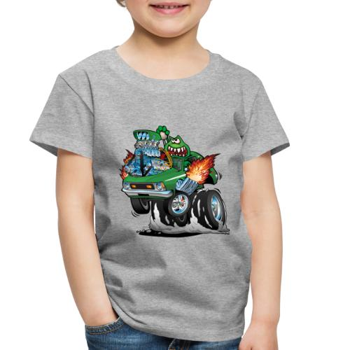 Seventies Green Hot Rod Funny Car Cartoon - Toddler Premium T-Shirt