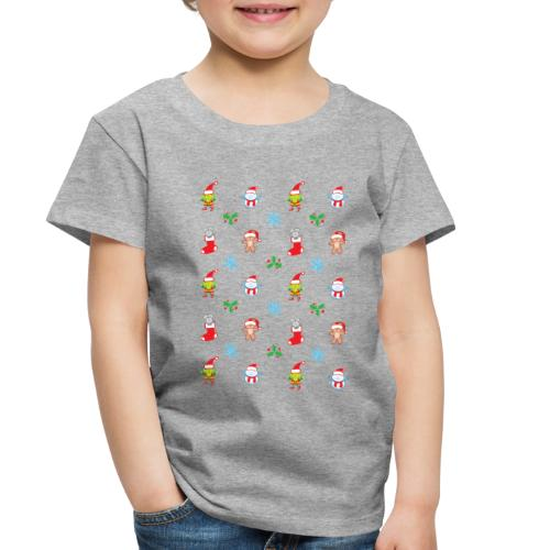 Teddy, mouse elf and snowman Christmas pattern - Toddler Premium T-Shirt
