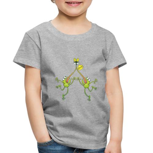 Two green frogs fighting to eat an unlucky fly - Toddler Premium T-Shirt