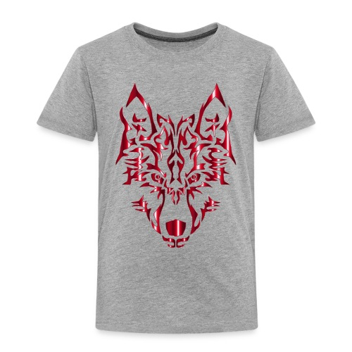 Crimson Symmetric Tribal Wolf No Background - Toddler Premium T-Shirt