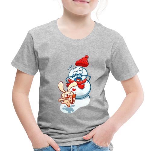 Mischievous bunny stealing the snowman carrot nose - Toddler Premium T-Shirt
