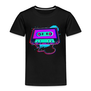 80s Music Cassette Tape : 3D, Neon, 80s songs - Toddler Premium T-Shirt