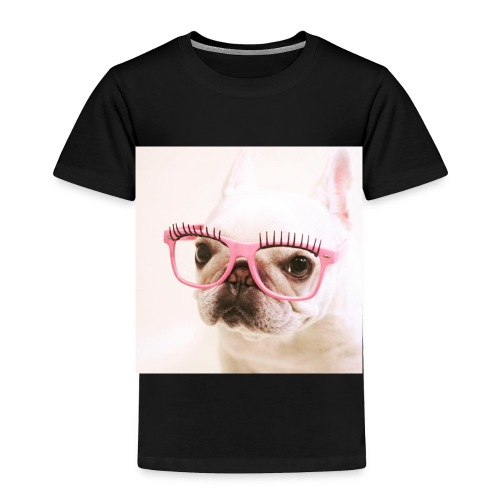 Cute dog wearing pink glasses - Toddler Premium T-Shirt