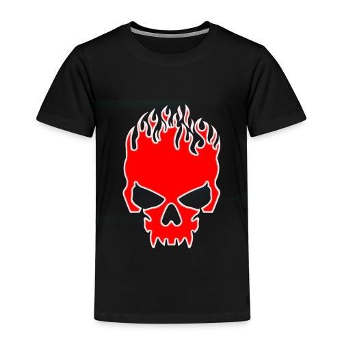 Flaming Red Skull with Tribal Flames - Toddler Premium T-Shirt