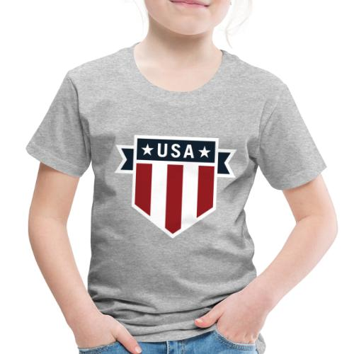 USA Pride Red White and Blue Patriotic Shield - Toddler Premium T-Shirt