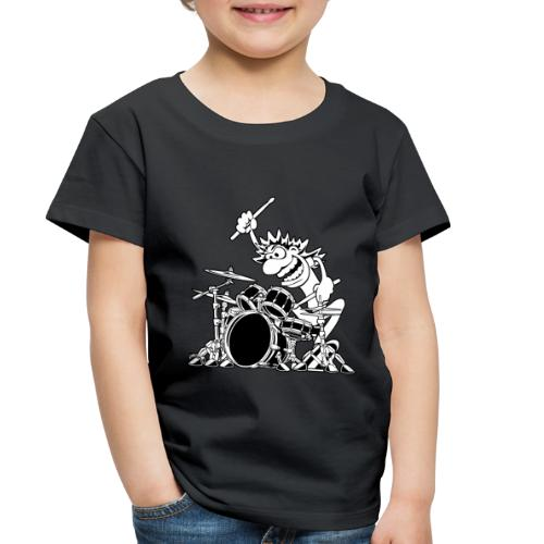 Crazy Drummer Cartoon Illustration - Toddler Premium T-Shirt