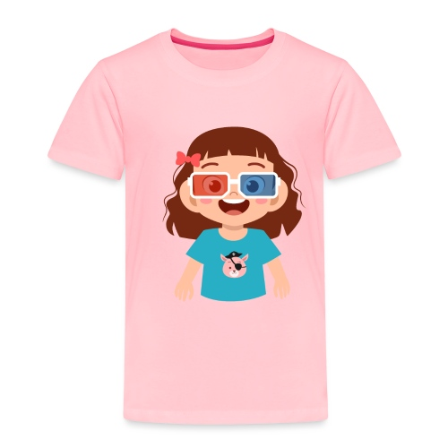 Girl red blue 3D glasses doing Vision Therapy - Toddler Premium T-Shirt