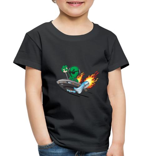 UFO Alien Hot Rod Cartoon Illustration - Toddler Premium T-Shirt