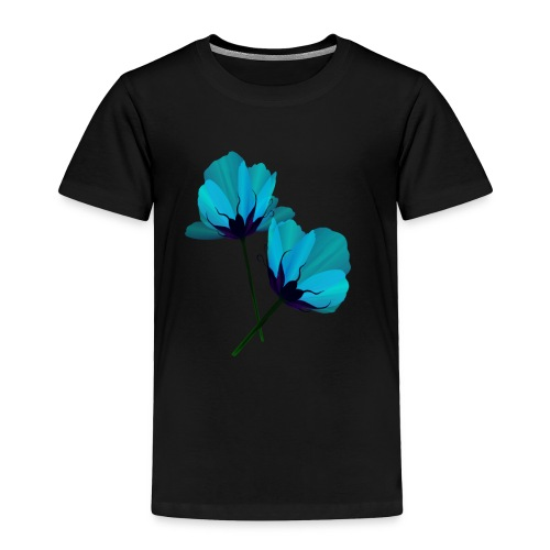 Two Electric Blue Flowers - Toddler Premium T-Shirt