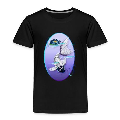 White Koi-Blue Lily Oval - Toddler Premium T-Shirt