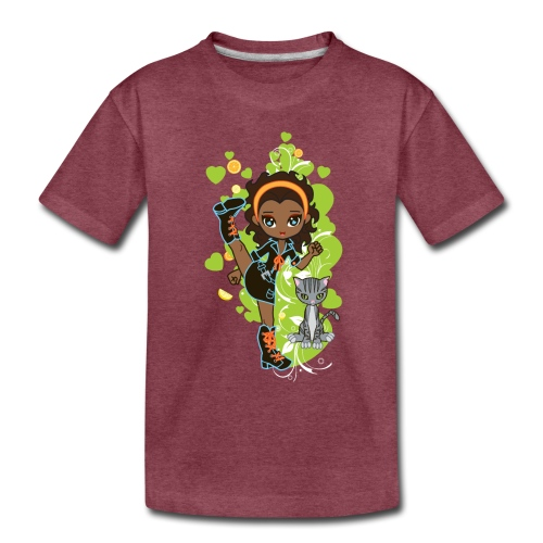 Aisha the African American Chibi Girl - Toddler Premium T-Shirt