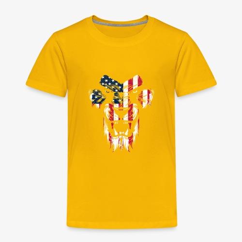 Lovely American Lion USA Flag Silhouette Portrait - Toddler Premium T-Shirt