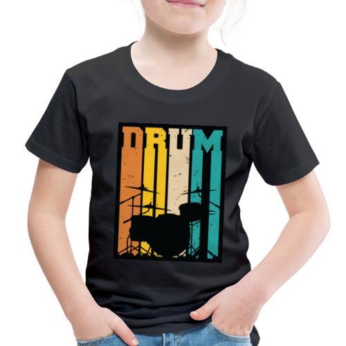 Retro Drum Set Silhouette Illustration - Toddler Premium T-Shirt