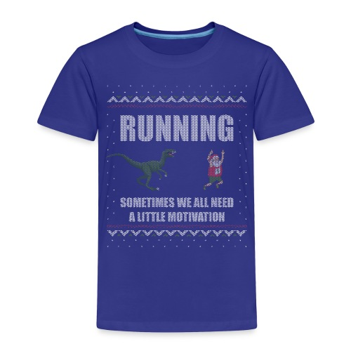 Ugly Christmas Sweater Running Dino and Santa - Toddler Premium T-Shirt
