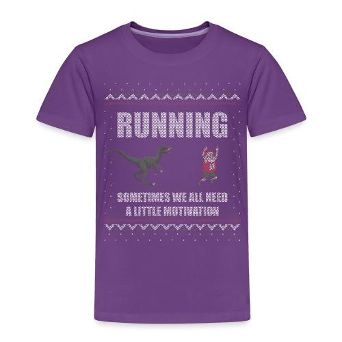 Ugly Christmas Sweater Running Dino and Santa - Toddler Premium T-Shirt