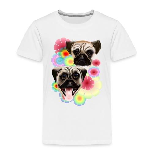 Happy Pug Grouchy Pug-Very bright flowers - Toddler Premium T-Shirt